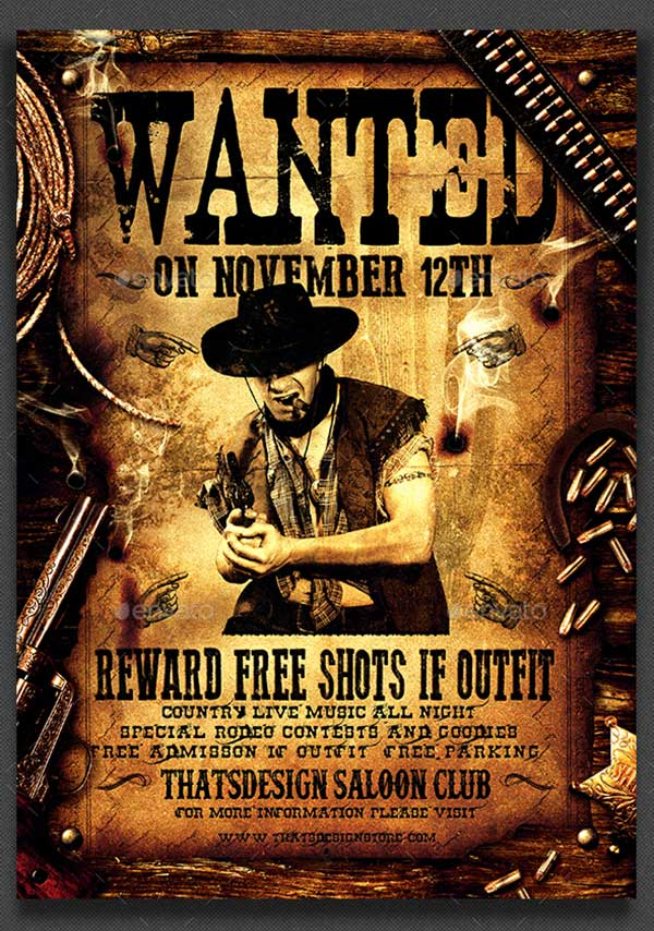 Wanted-Western-Party-Flyer-Template