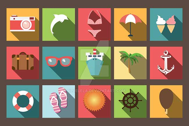 summer-vacation-flat-icons
