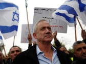 Benny Gantz outside his home in Rosh Ha'ayin during a protest by members of Israel's Druze community, January 14, 2019.