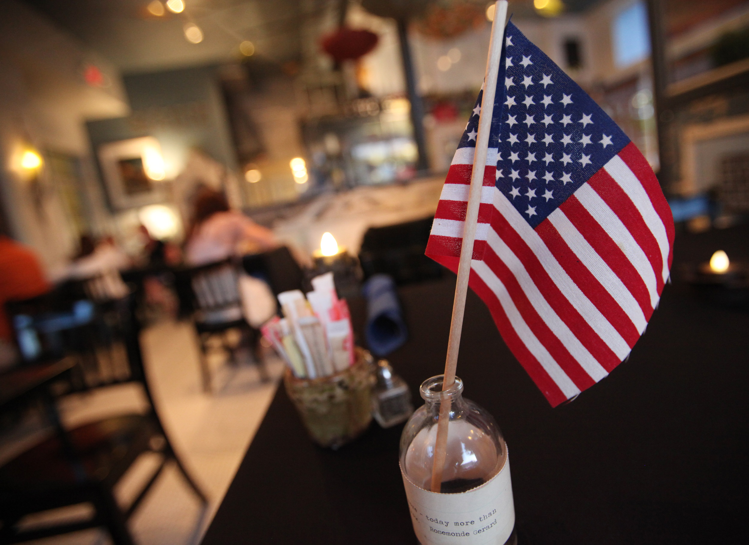 Tiny American flags adorn the tables at Aviary Cafe and Creperie.
