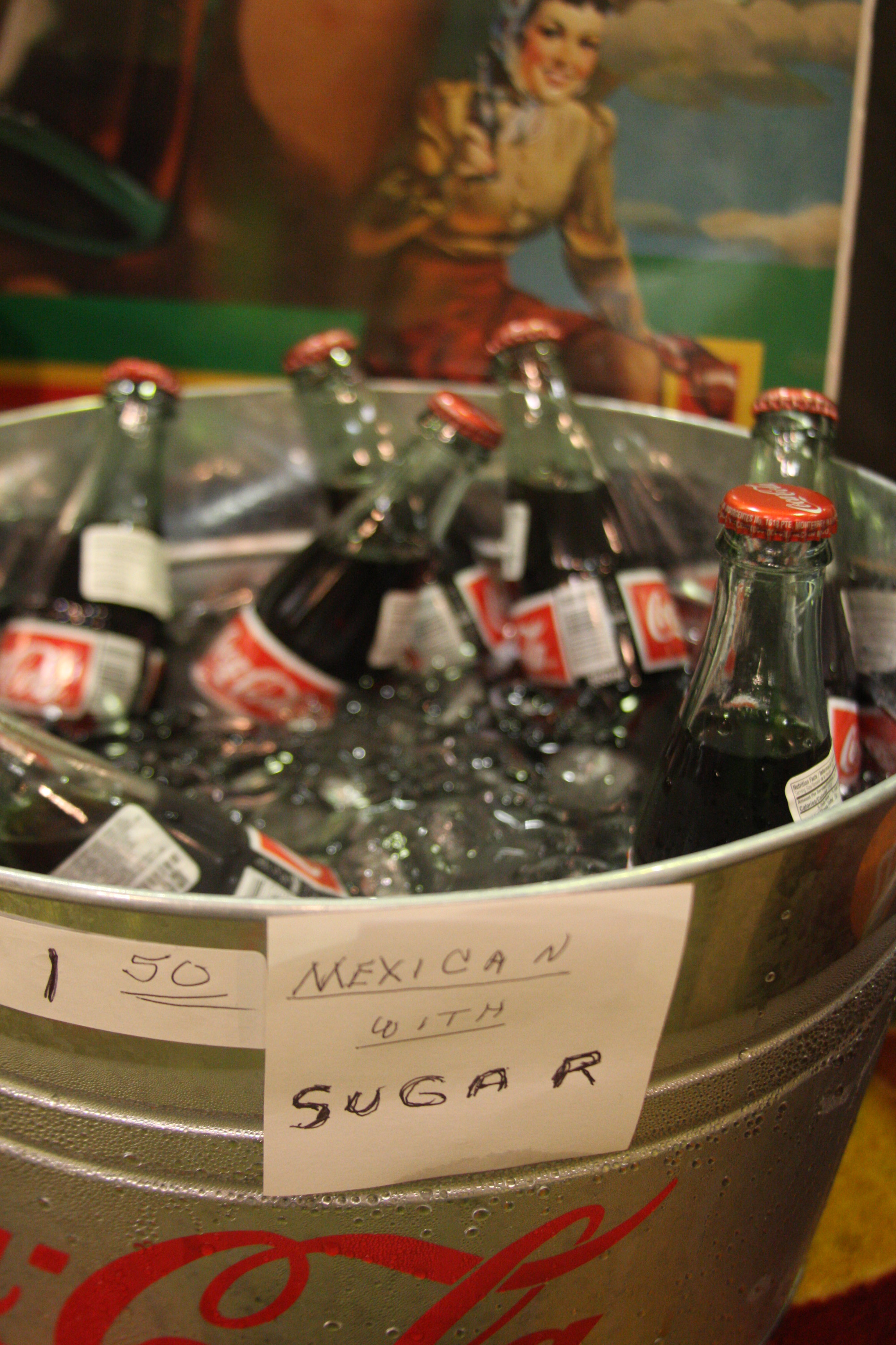An ice-cold tub of Coca-Cola, made in Mexico with sugar -- not corn syrup.