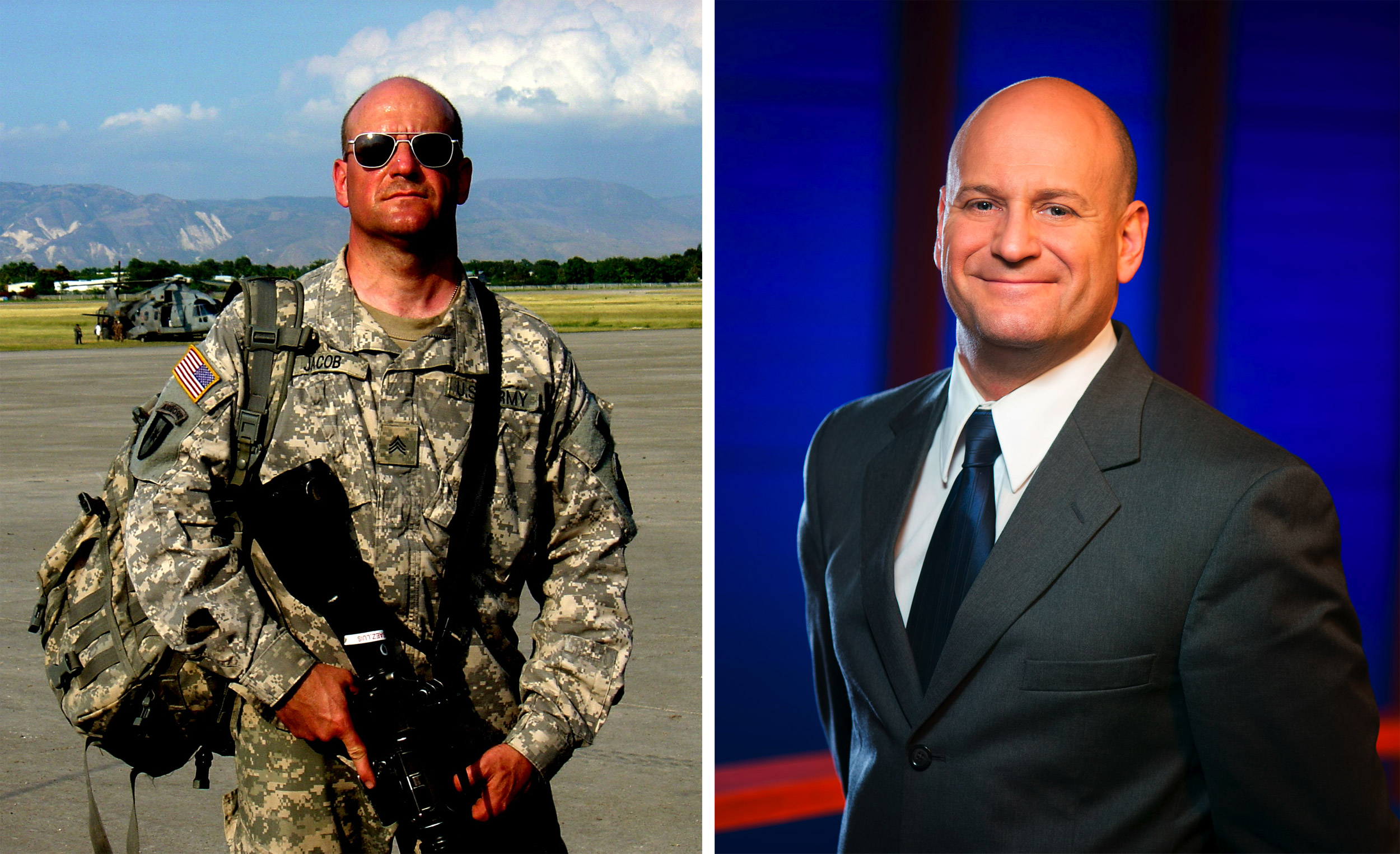 Jerry abroad as a medic, and at right, Jerry back at KY3.