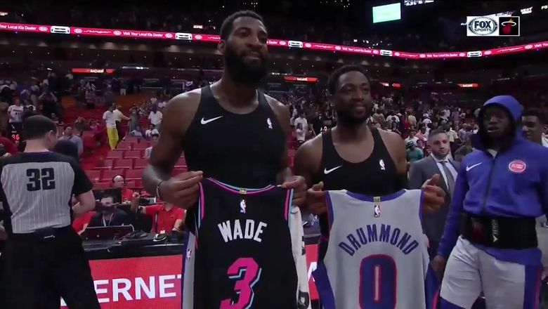 Dwyane Wade exchanges jerseys with Pistons big man Andre Drummond