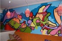 餐厅手绘墙图片