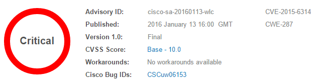 Cisco Advisory for issue cisco-sa-20160113-wlc