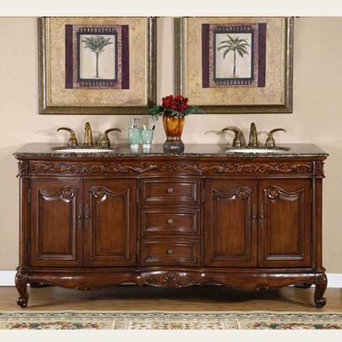 Accord 72 inch Antique Double Sink Bathroom Vanity Baltic Brown Top