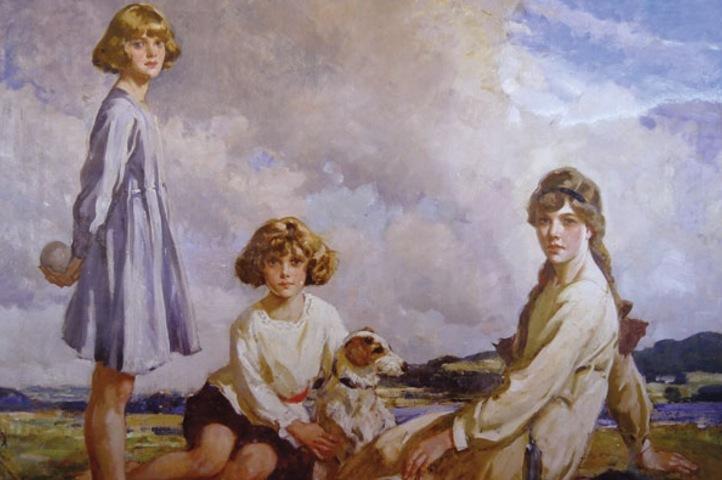 Portrait de groupe des sœurs Du Maurier avec leur chien Brutus par Frederic Whiting (1918). De gauche à droite: Daphne, Jeanne et Angela Victoria