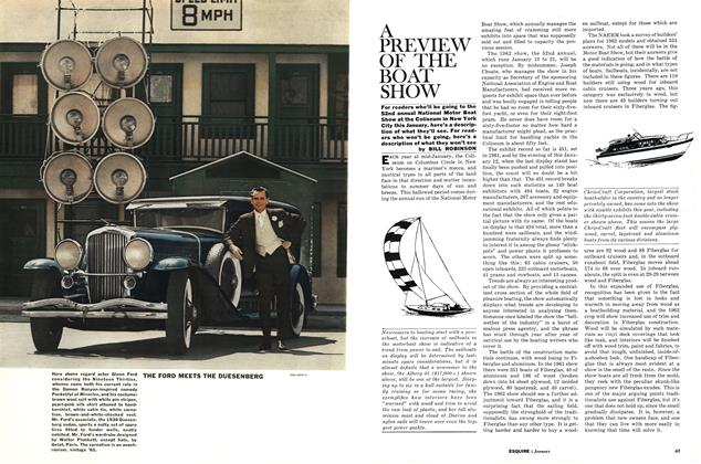 Article Preview: A Preview of the Boat Show, JANUARY, 1962 1962   Esquire