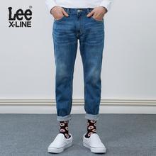 Lee男装 18春夏新款X-line蓝色九分牛仔裤L127263QJ8MW图片