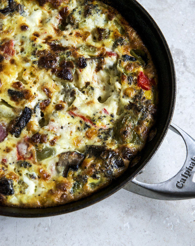 """<a href=""""http://buzzfeed.com/christinebyrne/roasted-vegetable-queso-frittata"""" target=""""_blank"""">Roasted Vegetable Queso Frittata</a>"""