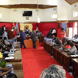 A county assembly session. Perks are gobbling up the devolved