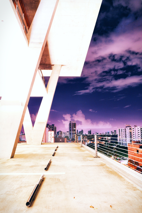 A cityscape shot from a rooftop using exposure compensation