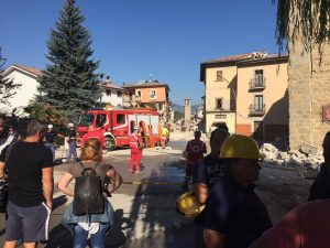 Teams of rescue and construction workers, aided by volunteer supporters, continue to help displaced residents of Amatrice, Italy, in 2016