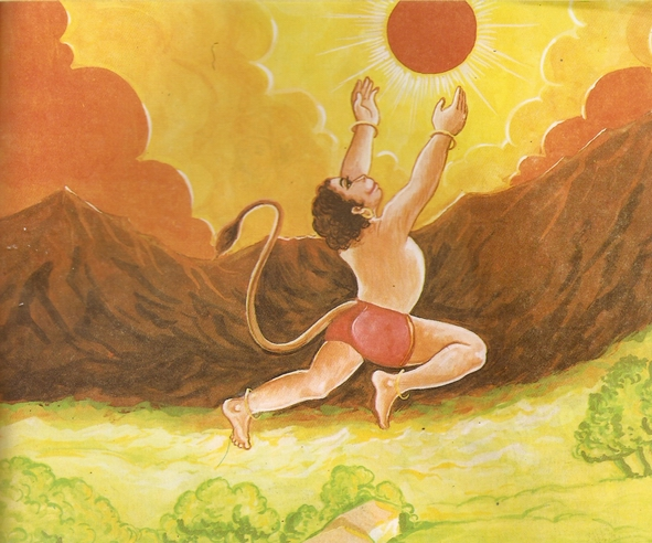 Young-Hanuman-and-Lord-Surya-sun