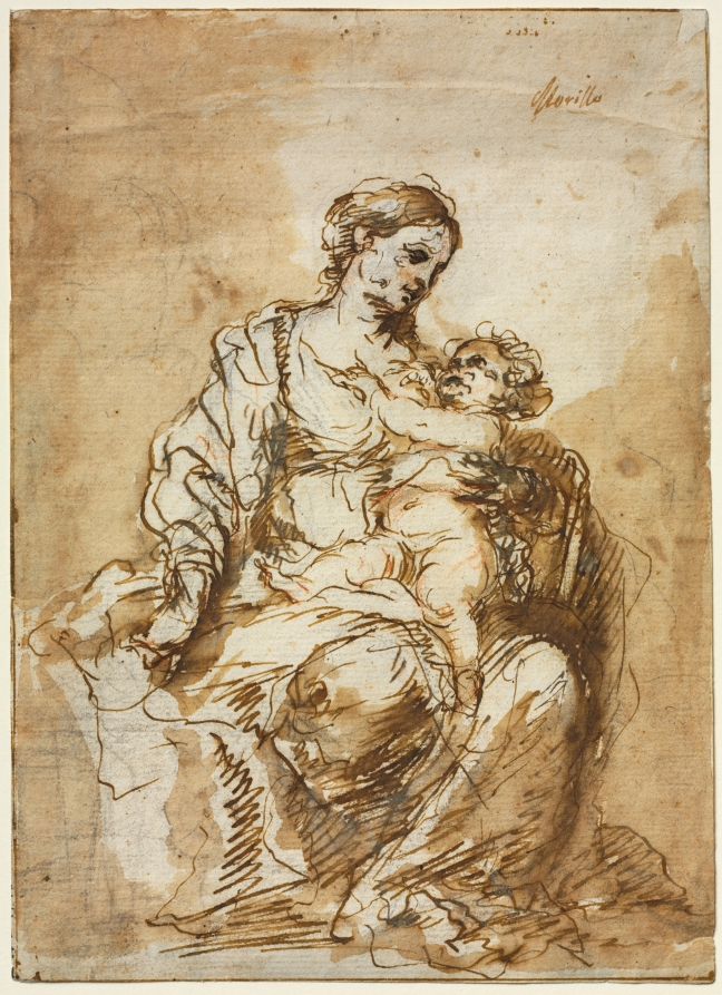 5-44 Bartolomé Esteban Murillo, Virgin and Child, ca. 1670-72. Pen and wash over black chalk with touches of red chalk, 21.4 x 15.4 cm. Cleveland museum of Art.
