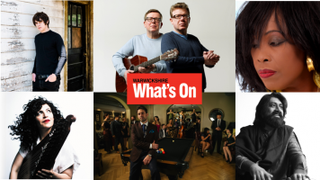 A composite image of Jake Bugg, Maya Youssef, The Proclaimers, Scott Bradlee's Postmodern Jukebox, Ruby Turner and Talvin Singh with the red What's On Warwickshire logo