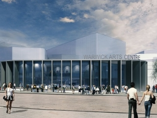 An artist's impression of the Warwick 20:20 Project, showing people walking outside of a glass-fronted building.