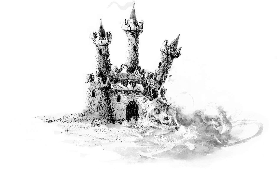 An illustration of a sand castle succumbing to the elements.