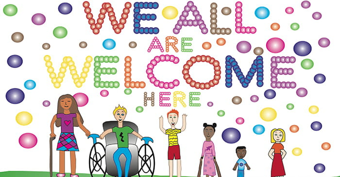 Choose Civility poster drawn by a student stating 'We Are All Welcome'