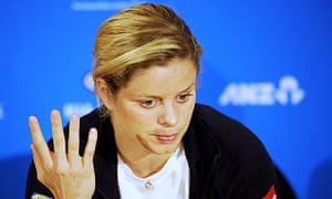 Kim Clijsters of Belgium tries to explain her defeat to Nadia Petrova in the Australian Open