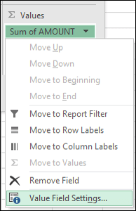 Excel Value Field Settings dialog