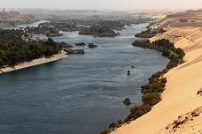 The landscape of the 1st Cataract, at Aswan, Egypt.