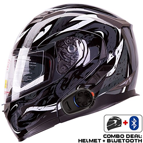 IV2 Helmet + Bluetooth Combo: Model 953 Dual Visor, Modular/Flip-Up High Performance Motorcycle Helmet + SENA SMH5 Bluetooth Unit [DOT] (Small, VIPER Black)