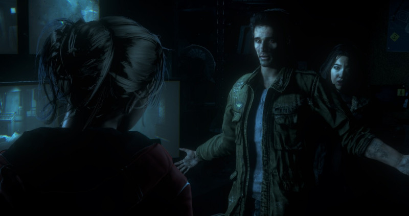 Sam, Mike, and Emily contemplate a choice in Until Dawn.