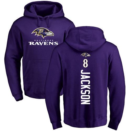 Lamar Jackson Purple Backer Football : Baltimore Ravens #8 Pullover Hoodie