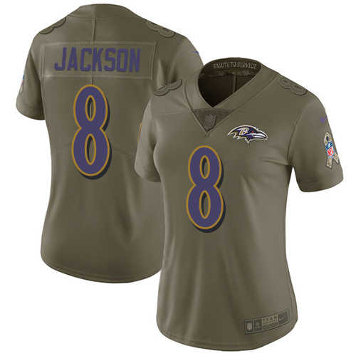 Women's Lamar Jackson Olive Limited Football Jersey: Baltimore Ravens #8 2017 Salute to Service  Jersey