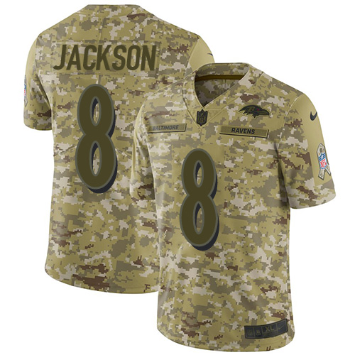 Youth Lamar Jackson Camo Limited Football Jersey: Baltimore Ravens #8 2018 Salute to Service  Jersey