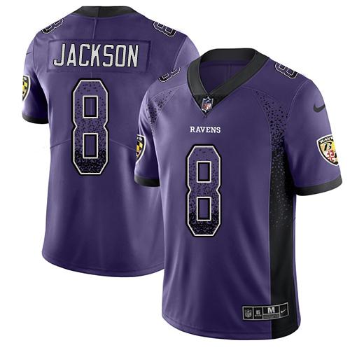 Men's Lamar Jackson Purple Limited Football Jersey: Baltimore Ravens #8 Rush Drift Fashion  Jersey