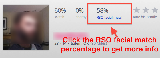 "Screenshot of OkCupid profile with ""RSO facial match"" percentage added."