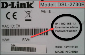 Router's default username and password