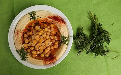 A plate of hummus at the Hummus Hagiva restaurant at the French Hill neighborhood in Jerusalem (Nati Shohat/Flash 90)