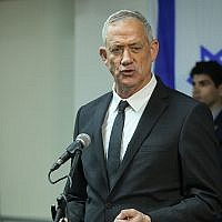 Blue and White party head Benny Gantz speaks during a press conference at the party headquarters in Tel Aviv, April 10, 2019 (Flash90)