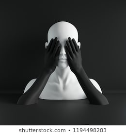 3d render, white female mannequin head, eyes closed by hands, blind concept, fashion concept, isolated object, black background, shop display, body parts, pastel colors