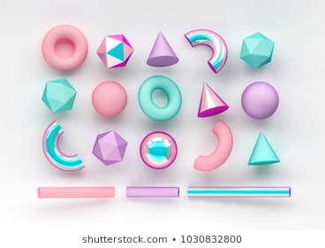 Set of 3d render realistic primitives on white background. Isolated graphic  elements. Spheres, torus, tubes, cones and other geometric shapes in pink, holographic glass colors for trendy designs.