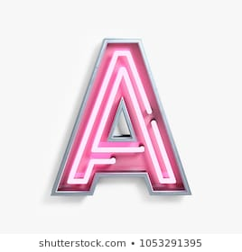 Bright Neon Font with fluorescent pink tubes. Letter A. Night Show Alphabet. 3d Rendering Isolated on White Background.