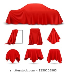Red silk cloth covered objects realistic set with draped frame car hanging napkin tablecloth curtain vector illustration