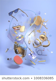 3d rendering group objects flying around light bulb. Creativity concept, thinking and get bright idea.  Many various elements on blue background.