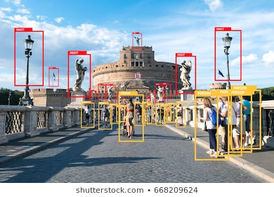 Machine Learning analytics identify person and object technology , Artificial intelligence concept. Software ui analytics and recognition people in city with flare light effect (blur all human face)