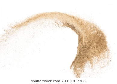 Sand flying explosion isolated on white background ,throwing freeze stop motion object design