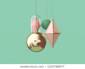 minimal gold pink ball hanging christmas decoration concept 3d rendering green background