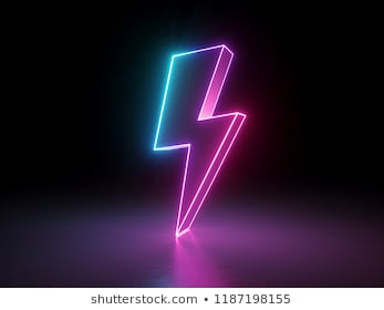 3d render, lightning, electric power symbol, retro neon glowing sign isolated on black background, ultraviolet light, electricity, electric lamp, adult sex icon, fluorescent element