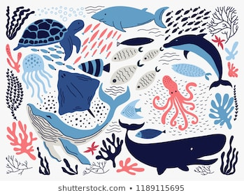 Set with hand drawn sea life elements.   Vector doodle cartoon set of marine life objects for your design.