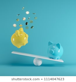 Blue and Yellow piggys bank playing with gold coin on seesaw on blue background. minimal idea funny concept.