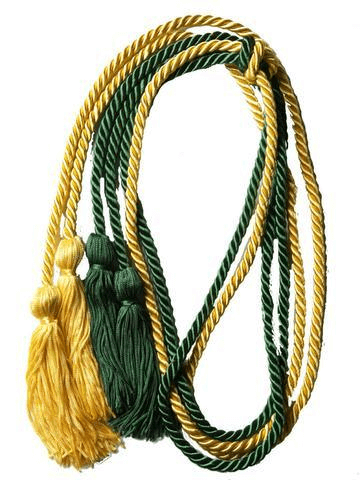 The Honor Cord Company's 2018 double graduation cord in green and yellow
