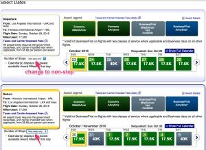 LAX-HNL MileSAAver Availability (click non-stop)