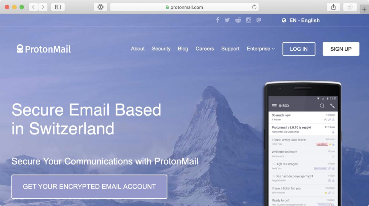 """Screenshot: Website of ProtonMail (""""Secure Email Based in Switzerland"""")"""